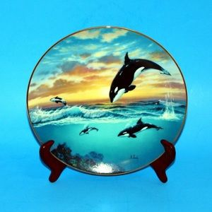Collectors Plate Saving the Whales Jumping For Joy